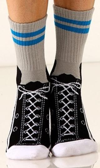 Gray with blue stripe Sneaker Slipper Socks - Front View
