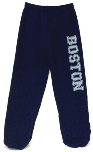 Navy blue Boston with oversize Boston imprint in Gray on one leg