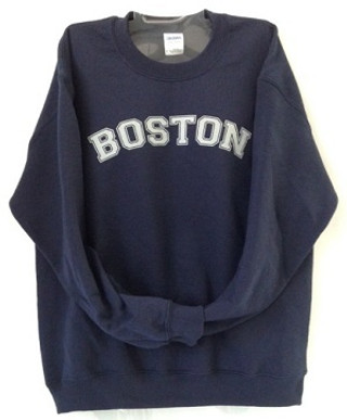 Boston Crewneck Sweatshirt in Navy Blue with light Gray imprint