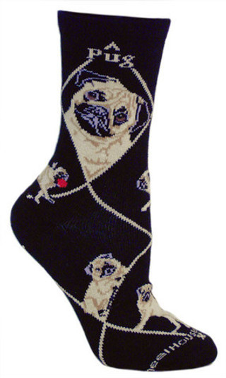 Pug Socks on black by Wheel House Designs