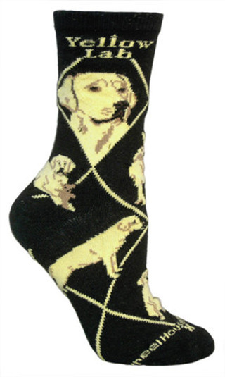 Yellow Lab socks in black by Wheel House Designs