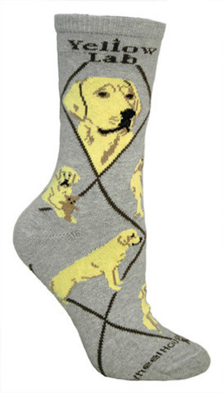 Yellow Lab Socks in Gray