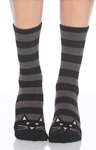 Black Cat Stripe Slipper Socks - Front View