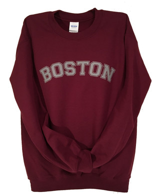 Boston crew neck sweatshirt in maroon with grey imprint