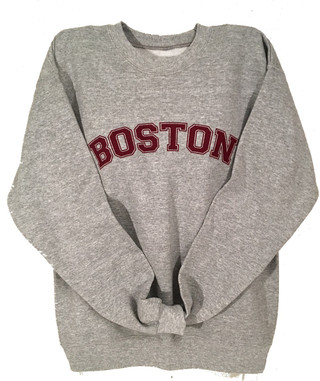 Boston crew neck sweatshirt in heather gray with maroon imprint