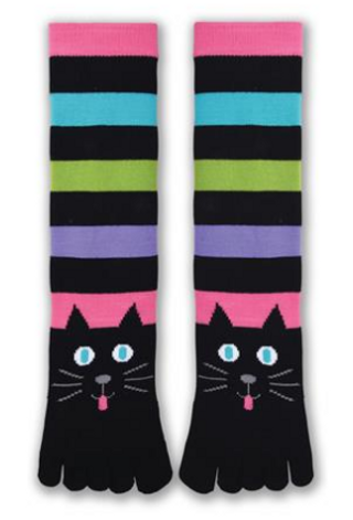 Cat Toe Socks with colorful stripes by K. Bell