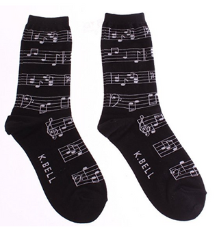 Musical notes socks for women by K. Bell