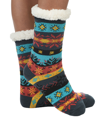 Sherpa lined slippers by Snoozies in Teal