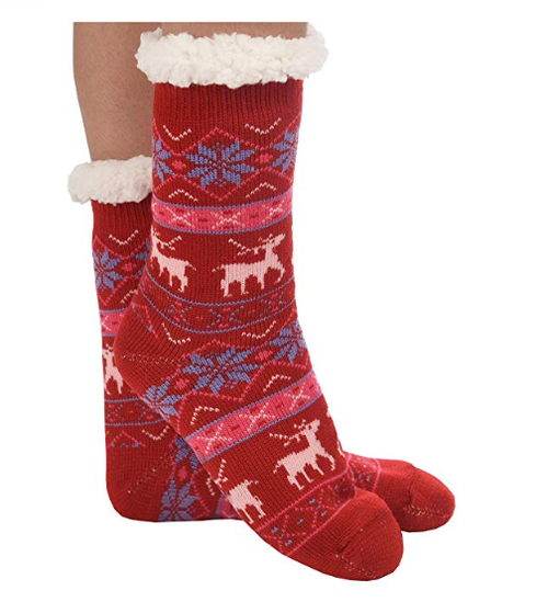 Snoozies Sherpa Lined Slipper Socks in Nordic Red