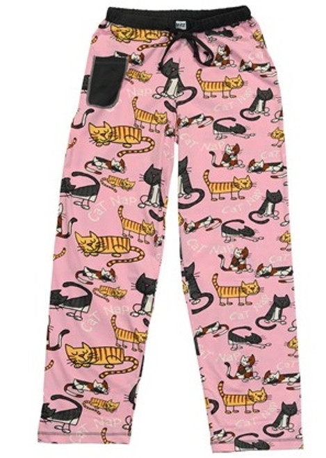"""""""Cat Nap"""" cotton pajama pants by Lazy One in pink with napping cats and cell phone pocket"""
