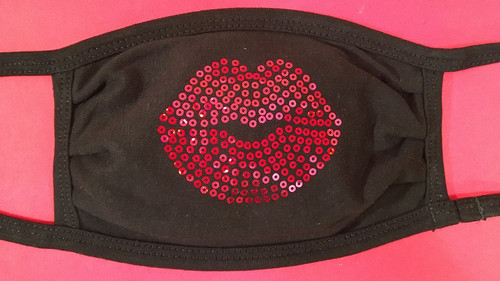 Kiss Lips sequin fashion cotton face mask by Soft as a Grape