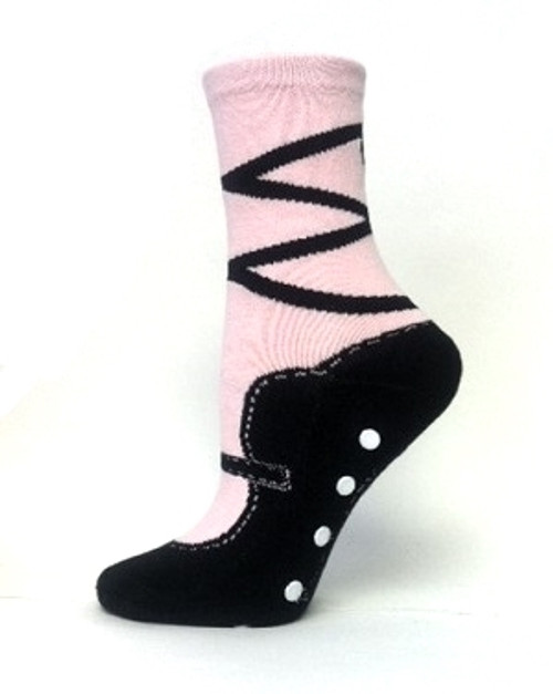 Black and pink ballet slipper socks with non-skid bottoms by Foot Traffic