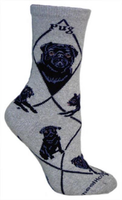 Black Pug Socks on Gray by Wheel House Designs
