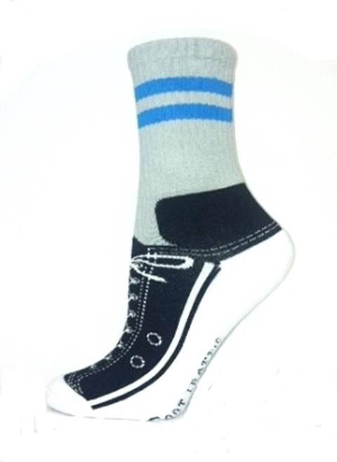 Gray with blue stripe Sneaker Slipper Socks with non-skid bottoms by Foot Traffic - Side View