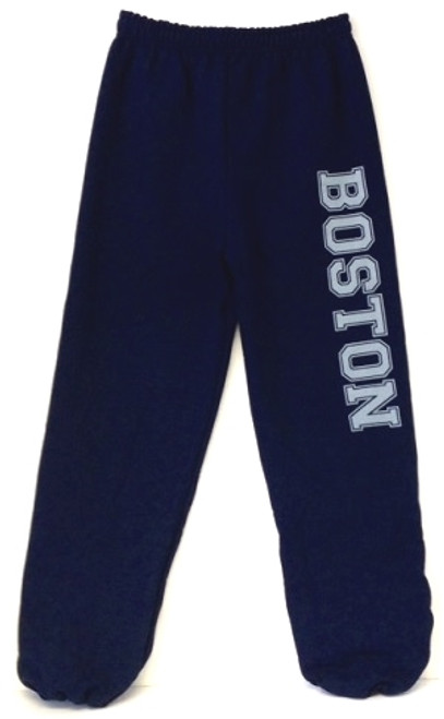 Navy blue Boston with oversize Boston imprint in Gray on one leg