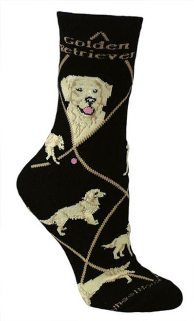 Golden Retriever Socks on Black by Wheel House Designs