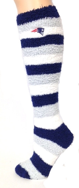 New England Patriots Sleep Soft Knee High fuzzy socks with team logo