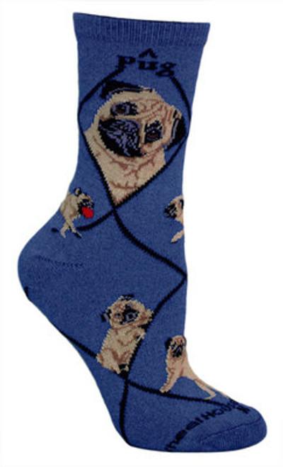Pug Socks on Blue by Wheel House Designs