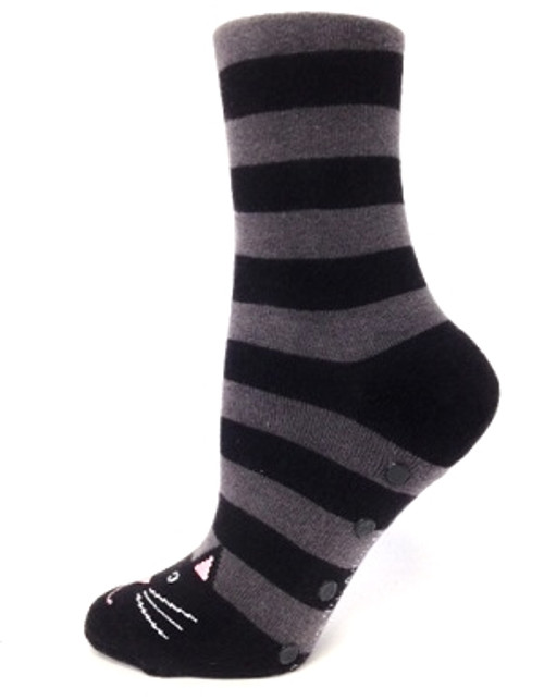 Black Cat Stripe Slipper Socks with non-skid bottom by Foot Traffic - Side View