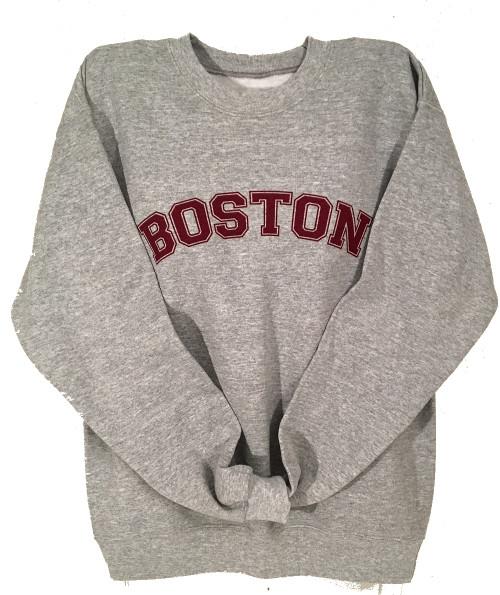 Boston crew neck sweatshirt in heather gray with maroon imprint