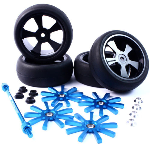 Yeah Racing Aluminium Spinning Rims (4pcs) BU 9-Spoke Tire Set w/Free Tire Holder for 1:10 Touring Cars
