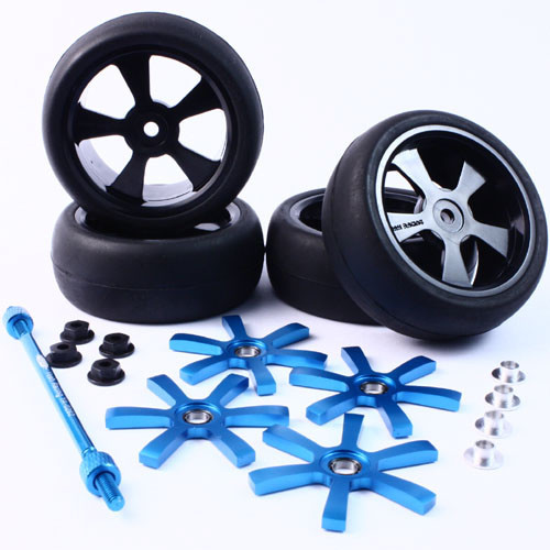 Yeah Racing Aluminium Stylish Spinning Rims (4pcs) BU 6-Spoke Tire Set w/Free Tire Holder for 1:10 Touring Cars