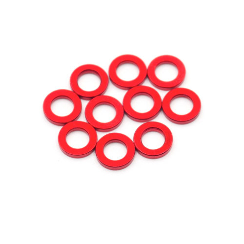 3Racing Aluminium M3 Flat Washer 2.5mm (10pcs) Red
