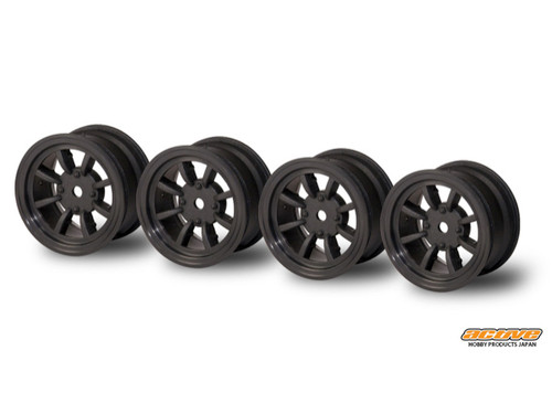 Active Hobby 24mm Width 8 Spoke Wheels Normal Offset 4 pcs Black For 1/10 M-Chassis