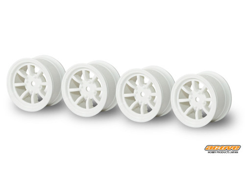 Active Hobby 24mm Width 8 Spoke Wheels Normal Offset 4 pcs White For 1/10 M-Chassis