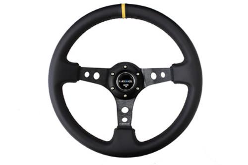 "NRG 350mm Sport Steering Wheel (3"" Deep) - Leather w/ Yellow Center Mark (ST-006BK-Y)"