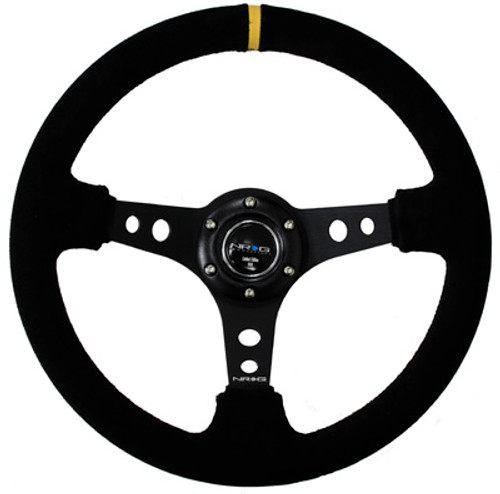"""NRG 350mm Sport Steering Wheel (3"""" Deep) - Suede w/ Yellow Center Mark (ST-006S-Y)"""