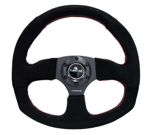 NRG 320mm Sport Suede Steering Wheel Oval - Red Stitch
