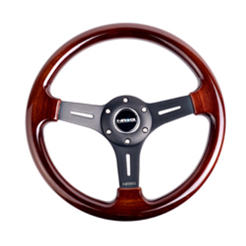 ST-015-1BK Classic Wood Grain Wheel, 330mm, 3 spoke center in matte black