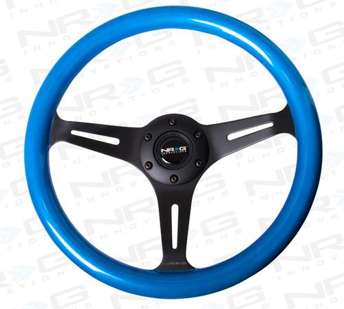ST-015BK-BL Classic Wood Grain Wheel, 350mm, 3 spoke center in black - Blue