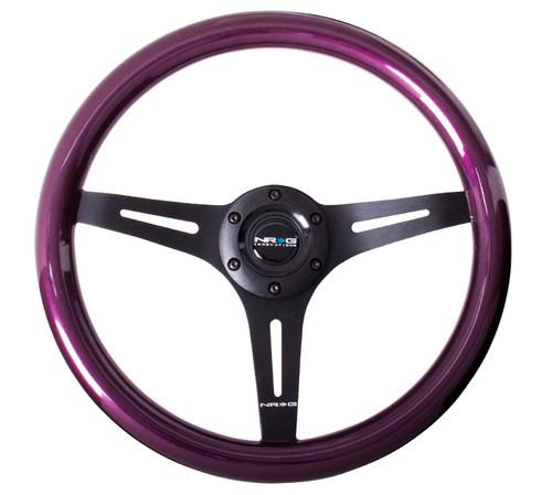 ST-015BK-PP Classic Wood Grain Wheel, 350mm, 3 spoke center in black - Purple