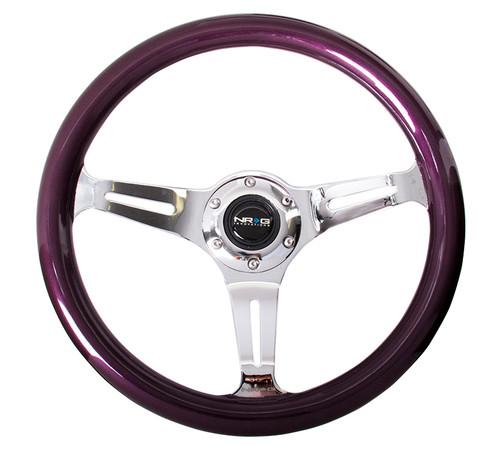 ST-015CH-PP Classic Wood Grain Wheel, 350mm, 3 spoke center in chrome - Purple