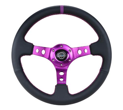 """NRG 350mm Sport Steering Wheel (3"""" Deep) Purple w/ Purple  Center Marking"""
