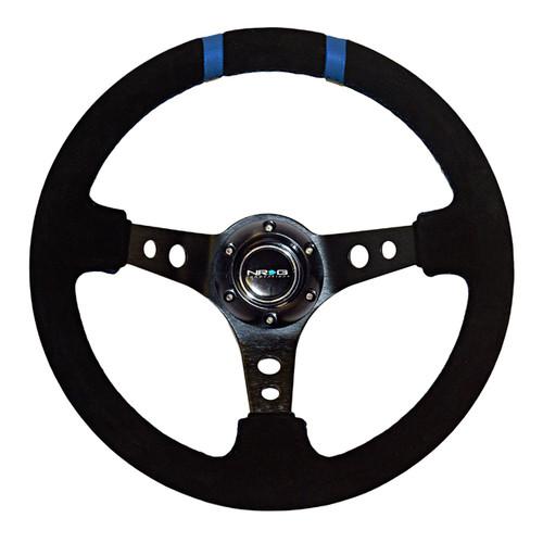 "NRG 350mm Sport Steering wheel (3"" Deep) - Black Suede - Black w/ Blue Double Center Marking (ST-016S-BK)"