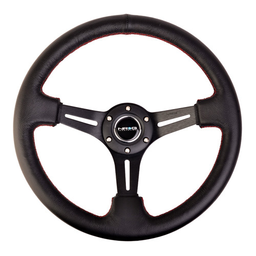 """NRG 350mm Sport Steering Wheel (3"""" Deep) Black Leather with Red Stitching (ST-018R)"""