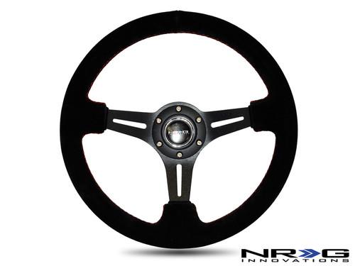 """NRG 350mm Sport Steering Wheel (3"""" Deep) Black Suede with Red Stitching (ST-018S)"""