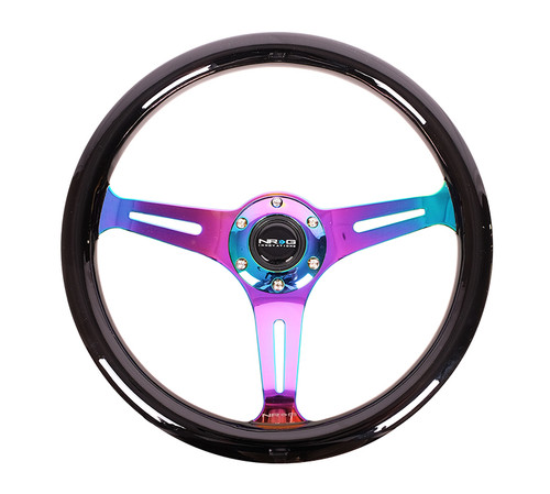ST-015MC-BK Classic Wood Grain Wheel, 350mm, Black colored wood, 3 spoke center in Neochrome