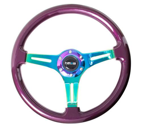 ST-015MC-PP Classic Wood Grain Wheel, 350mm, Purple colored wood, 3 spoke center in Neochrome