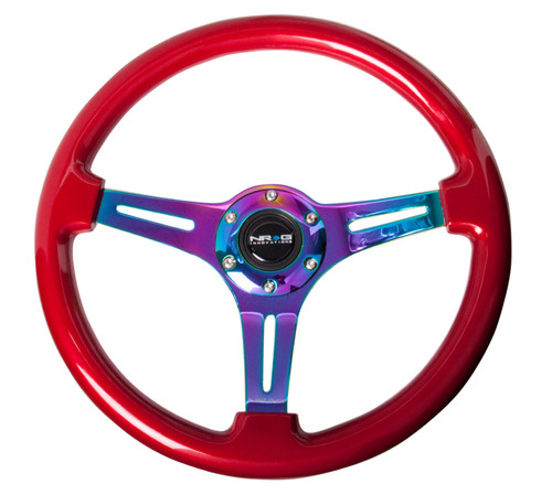 ST-015MC-RD Classic Wood Grain Wheel, 350mm, Red colored wood, 3 spoke center in Neochrome