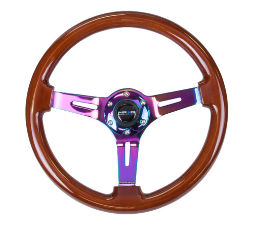 "ST-055BR-MC Classic Dark Wood Grain Wheel (3"" Deep), 350mm, 3 spoke center in Neochrome"