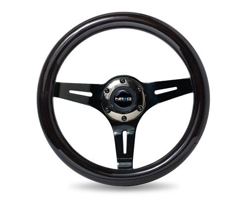 ST-310BK-BK Classic Black Wood Grain Wheel, 310mm, 3 spoke center in Black Chrome