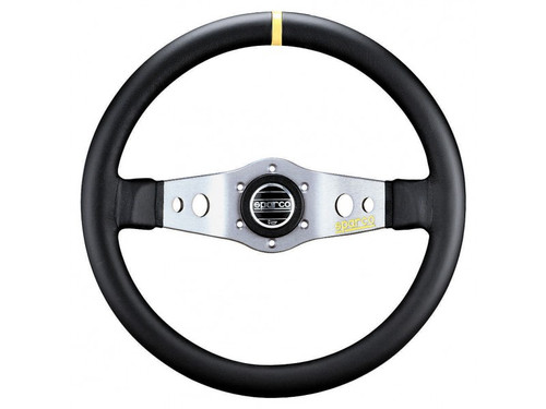 Sparco L555 350mm Silver / Leather- 015TSFL9