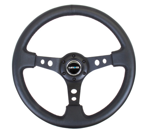 "NRG 350mm Sport Black Steering Wheel (3"" Deep) - Leather"