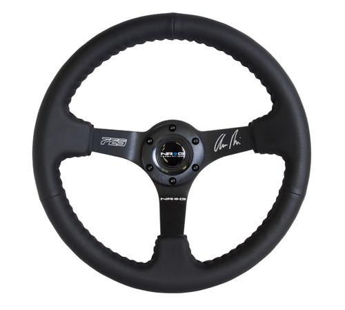"NRG 350mm Race Series Steering wheel (3"" Deep) - Black Leather w/ black baseball stitching - Matte Black spoke"