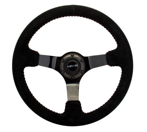 NRG 350mm Race Series Steering Wheel Black Suede Black Spokes Red Stitch