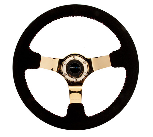 """NRG 350mm Race Series Steering wheel (3"""" Deep) - Black Suede w/ Red Stitching - Gold Center"""